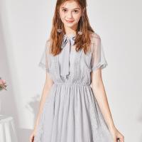 秋水伊人连衣裙2020夏装新款女装蕾丝厌世风短袖松紧修身系带裙子