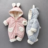 罗町冬季婴儿连体衣加绒加厚保暖宝宝兔子哈衣连帽加绒新生儿外出爬爬服婴儿连体衣冬