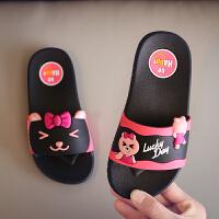 卡通儿童拖鞋夏女童防滑软底凉拖鞋居家浴室一字拖一家三口亲子鞋