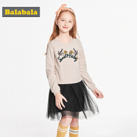 【满减参考价:89.67】巴拉巴拉童装女童裙子儿童公主裙新款秋装时尚长袖拼接连衣裙