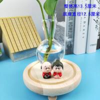 新款养绿萝的瓶子创意玻璃摆件田园小花器家居装饰品茶桌绿萝花插花瓶玻璃水培容器Q 小