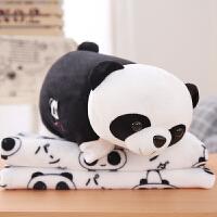 熊猫方枕头空调抱枕被子两用三合一珊瑚绒午睡毯子可折叠靠枕 枕头毯子1x1.7m