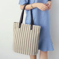 2018款包包潮 条纹帆布包女单肩包约大包百搭女包 米白色 先拍先发