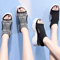 时尚百搭针织袜子女鞋 ins潮女士运动凉鞋 欧洲站厚底凉鞋女 新款松糕黑色凉鞋