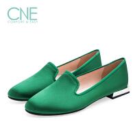 CNE2019春夏款船鞋纯色圆头低跟粗跟乐福鞋休闲女单鞋9M06309