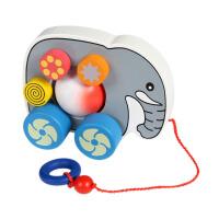 大贸商 大象拖拉车 木制玩具 儿童益智学步 手推车 动物 EX10056