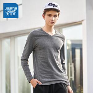 [每满150再减30元]真维斯长袖T恤冬装新款男士V领纯色打底衫港风衣服