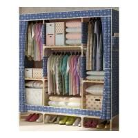 简易衣柜折叠布衣柜有盖加固牛津现代 收纳组装广西实木