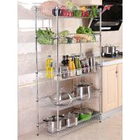 厨房置物架多层多功能蔬菜水果收纳物品架落地不锈钢色放菜的架子