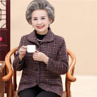 老年人女装秋冬装毛呢外套奶奶装加绒加厚老人衣服6070岁80妈妈装