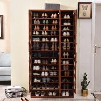 欧式实木鞋柜大容量储物柜透气门厅柜玄关柜多层阳台柜收纳柜简约 整装