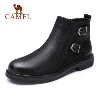 Camel骆驼男鞋 秋季新款商务皮靴加绒保暖高帮套脚皮鞋短筒牛皮靴