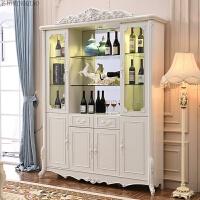 欧式酒柜白色客厅餐边柜餐厅家庭用玻璃酒柜实木整装现代简约 4门
