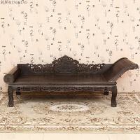 家具鸡翅木贵妃榻午休椅单人床罗汉床 中式实木仿古躺椅休闲
