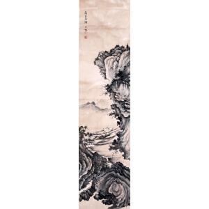 著名画家  陈少梅《高岩石漱》