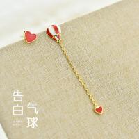 新款不对称热气球少女心ins耳环女925纯银个性甜美韩国气质爱心耳坠Y/D 711H0150
