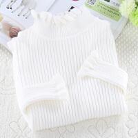 木耳边半高领毛衣女白色长袖上衣大码秋冬新款修身套头针织打底衫