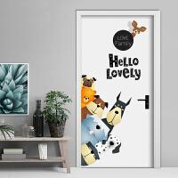 欧式卡通动物门贴创意寝室卧室房间墙贴装饰贴画个性防水墙纸自粘 狗狗家族 特大