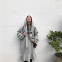 胖mm冬装女大码宽松200斤中长款文艺纯色加绒加厚套头连帽卫衣潮