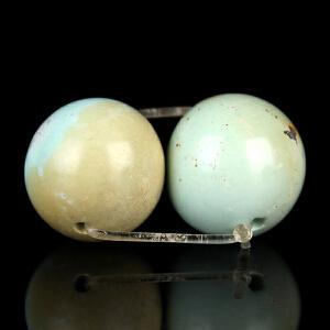 原矿高瓷绿松石一对圆珠配珠 重量5.03g