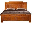 床中式仿古雕花床实木橡木明清古典1.81.5米储物仿高箱双人床