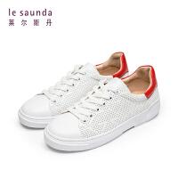 莱尔斯丹 夏圆头系带深口低跟女透气休闲板鞋单鞋48001