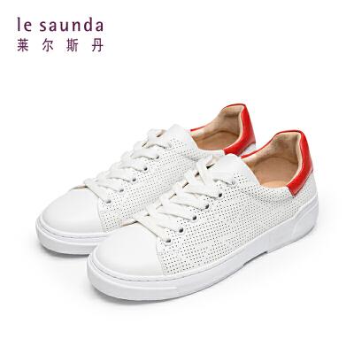 莱尔斯丹 夏圆头系带深口低跟女透气休闲板鞋单鞋48001 深口低跟女透气休闲板鞋