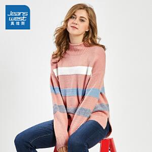 [每满150再减30元]真维斯针织衫女冬装新款女士条纹chic慵懒毛衣韩版学生线衫潮