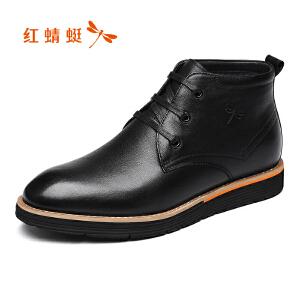 红蜻蜓男鞋2017冬季新品商务休闲皮鞋潮流舒适高帮鞋加绒棉鞋正品