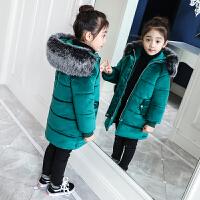 女童装棉衣2017新款儿童公主羽绒加绒加厚金丝绒棉袄中长款 110码 建议身高105厘米