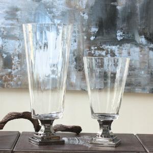 【每满100减50】幸阁 插花复古高脚镀银透明玻璃花瓶 手工花插水培花器