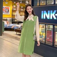 毛菇小象时尚两件套女2019秋新款韩版小众衬衫气质背心连衣裙套装