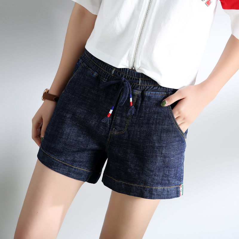 Freefeel 2018夏季新款牛仔短裤时尚休闲松紧腰细带短裤BH5023