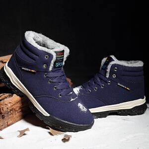 新款高帮板鞋男鞋冬季加绒高帮鞋男男士保暖棉鞋男运动冬鞋潮雪地靴