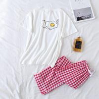 鸡蛋牛奶卡通情侣睡衣纯棉短袖长裤套装春天夏季韩版男女款家居服 女款鸡蛋 短袖长裤 均码 - 女款