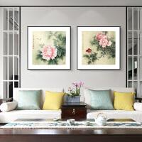 花开富贵客厅装饰画现代简约有框家居挂画餐厅书房过道牡丹壁画 单外框2个UE-V 30*30M 黑色画框 单幅价格