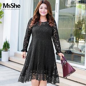 MsShe大码女装2017新款200斤冬装胖mm收腰显瘦蕾丝连衣裙M1740177