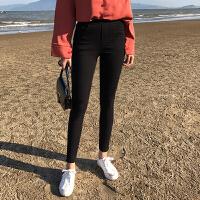 春夏新款简约基础高腰修身显瘦弹力小脚铅笔裤女黑色外穿打底裤 黑色