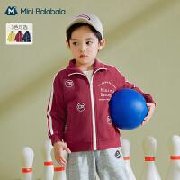 迷你巴拉巴拉儿童外套2021春新款男童复古运动舒适小立领便服外套