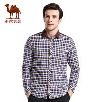 骆驼男装 秋冬加绒加厚新款青年日常休闲修身格子长袖衬衫男