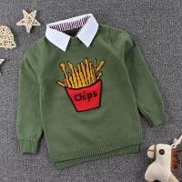 韩版儿童装毛衣 男童衬衫领假两件打底衫 薯条卡通包芯纱毛线衣服
