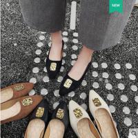 韩版百搭瓢鞋浅口豆豆鞋软底单鞋尖头平底鞋新款女鞋