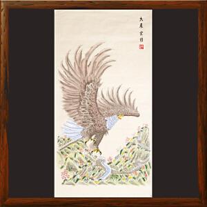 《大展宏图》非物质文化遗产,手绘扑灰年画,带证书(003)