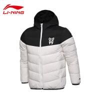 李宁短羽绒服男士篮球系列保暖连帽修身冬季80%白鸭绒运动服AYML053