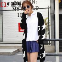 秋冬新款纯羊绒衫韩版中长款毛衣开衫女装五角星星图案外套针织衫