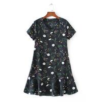 女装 2017夏装新款欧美风V领印花连衣裙修身气质碎花裙子