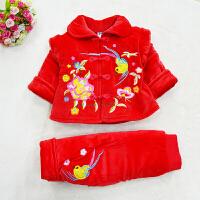 女宝宝唐装秋季 婴儿唐装棉衣套装小公主古装女童装抓周0-1-2岁