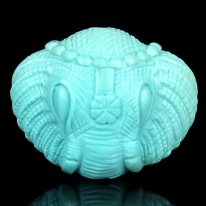 原矿高瓷高蓝绿松石象神背云 重4.87g