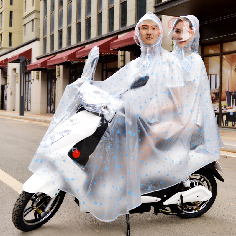 双人雨衣电瓶车加大两侧加长遮脚男女摩托母子超大头盔面罩双帽檐