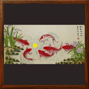 《静观鱼戏月,喜迎仙客来》国家非物质文化遗产,带证书,手绘扑灰年画,(R279)